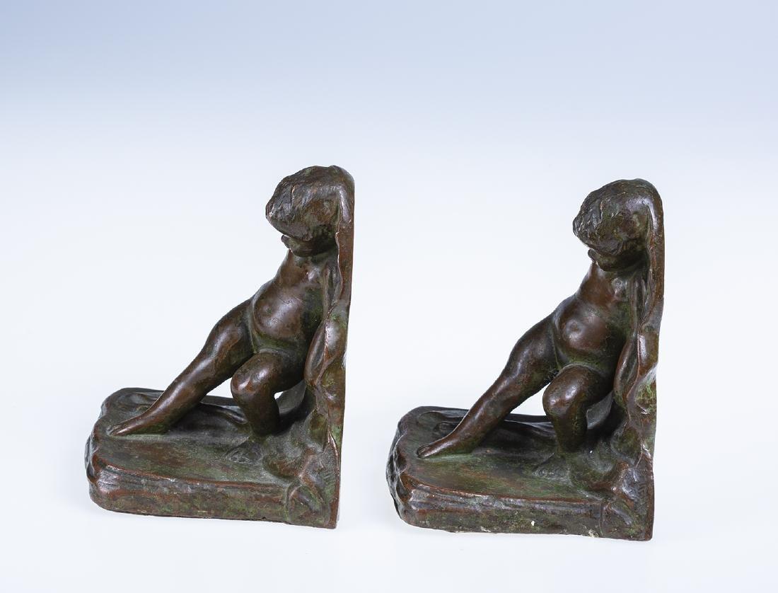 Bronze Cherub Bookends - 2