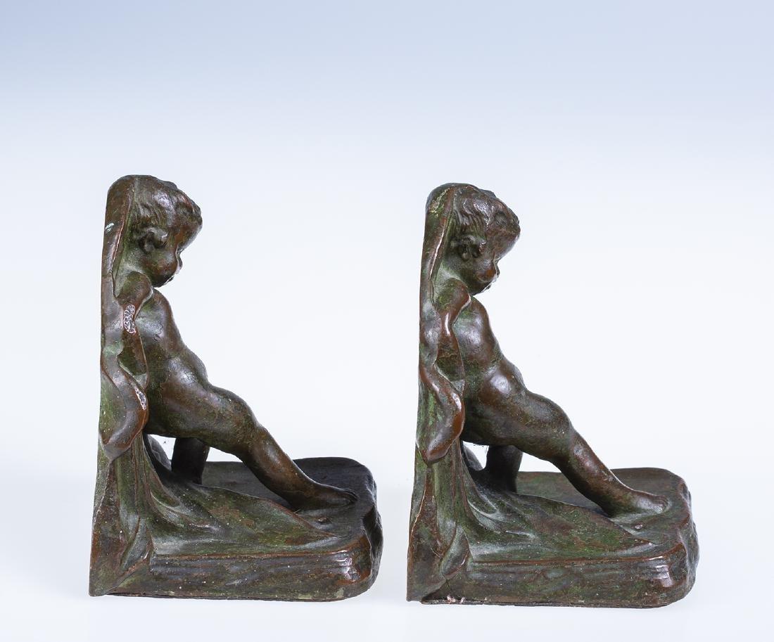 Bronze Cherub Bookends - 3