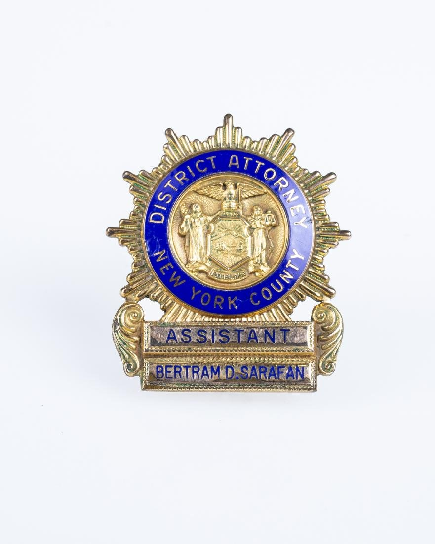 "New York Assistant District Attorney Badge (1940""s)"