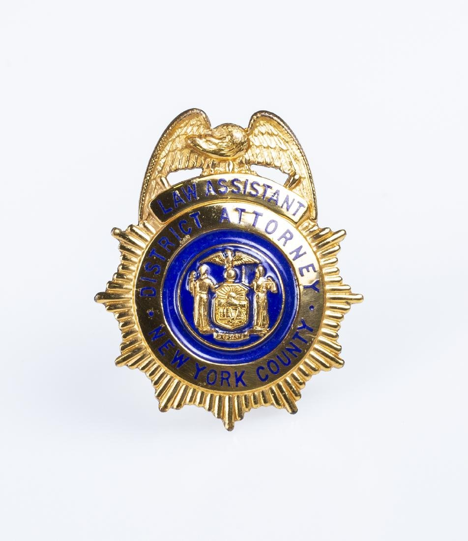 "New York Law Assistant District Attorney Badge (1940""s)"