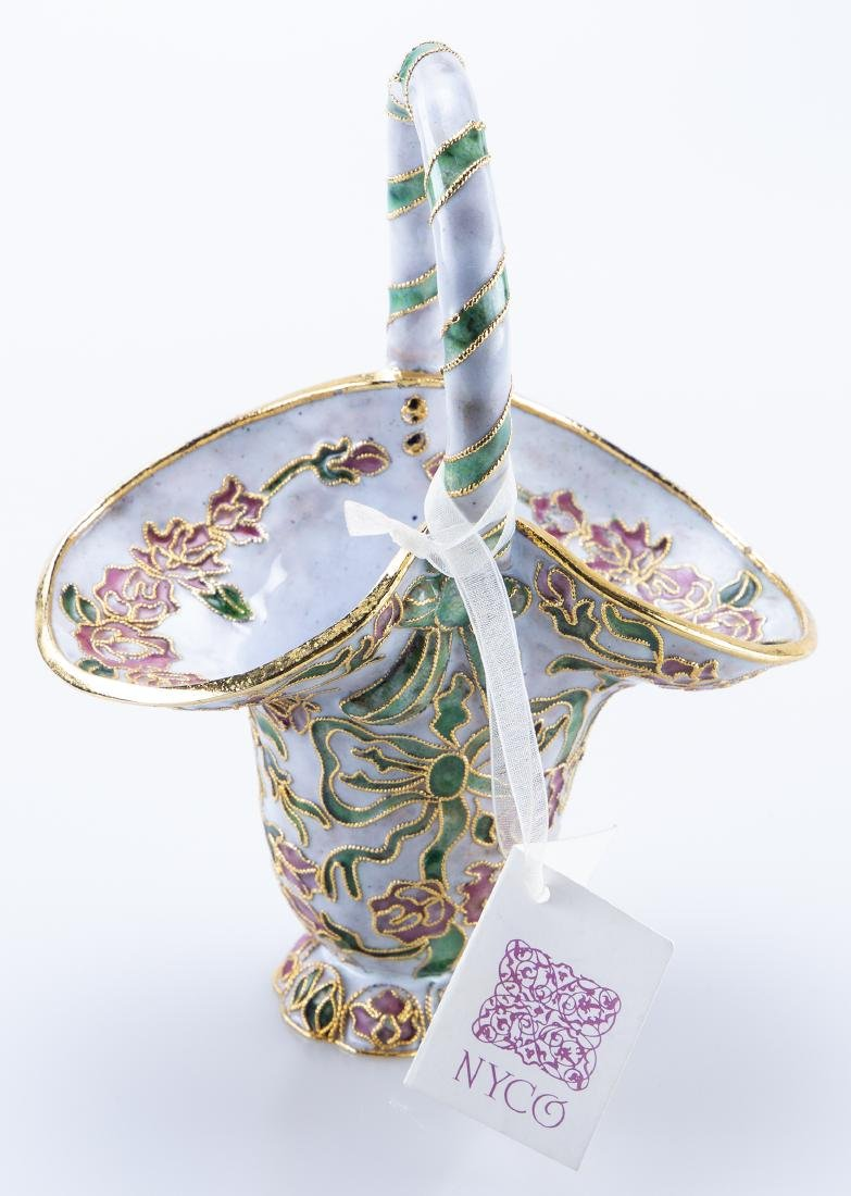 Enamel Basket (Reminiscent Faberge Jeweler) - 2