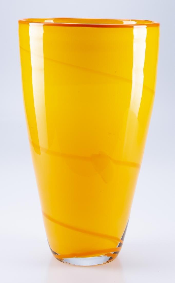 Hand Blown Glass  Orange & Yellow Vase - 2