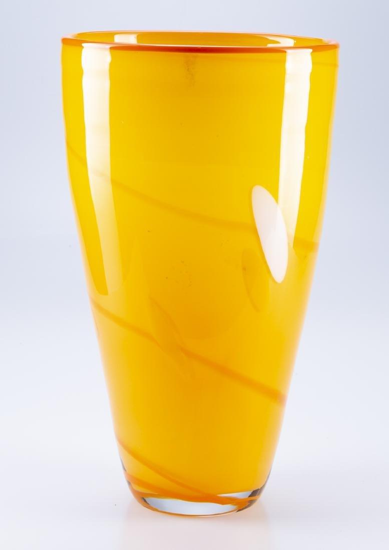 Hand Blown Glass  Orange & Yellow Vase - 3