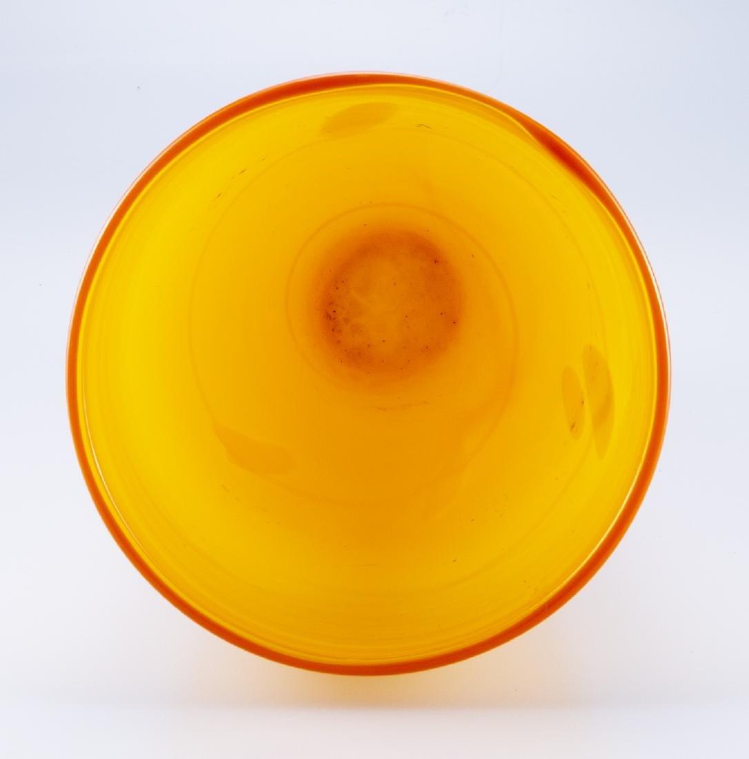 Hand Blown Glass  Orange & Yellow Vase - 4