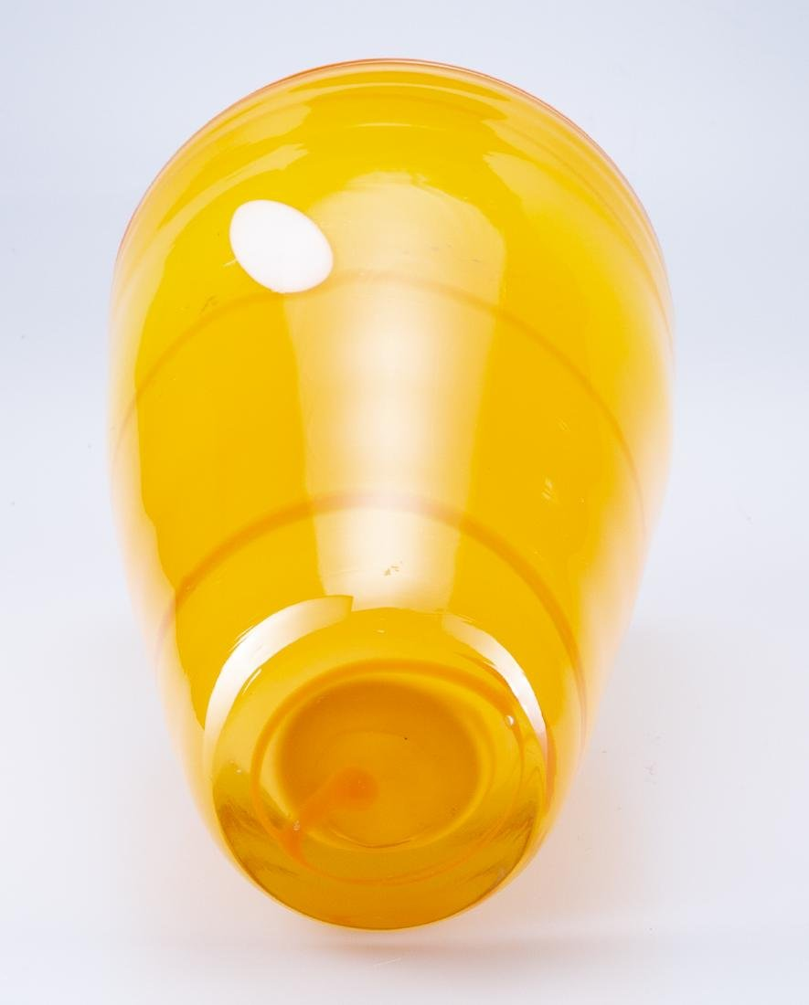 Hand Blown Glass  Orange & Yellow Vase - 5