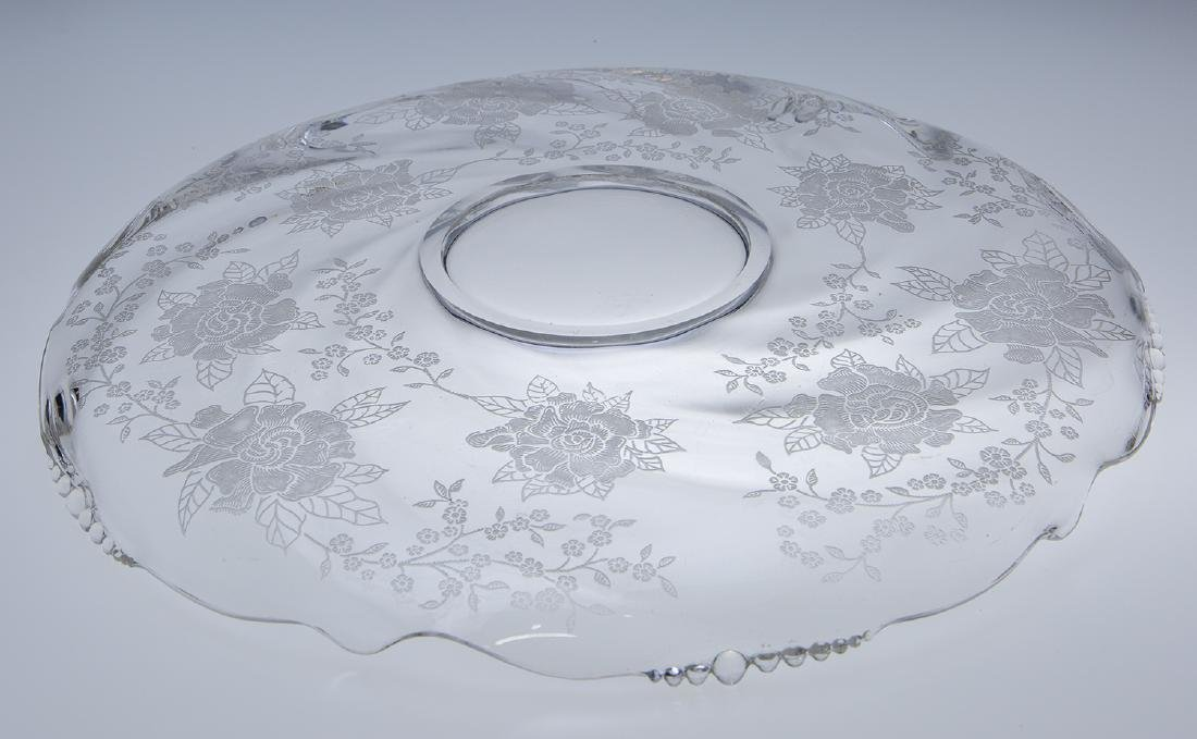 Heisey Waverly Rose Etched Platter - 3