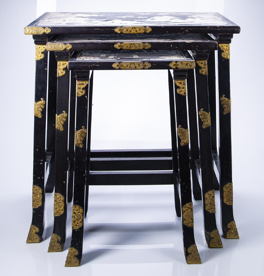 Japanese Carved Abalone and Brass Nesting Tables