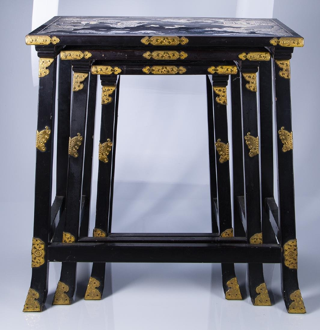 Japanese Carved Abalone and Brass Nesting Tables - 2