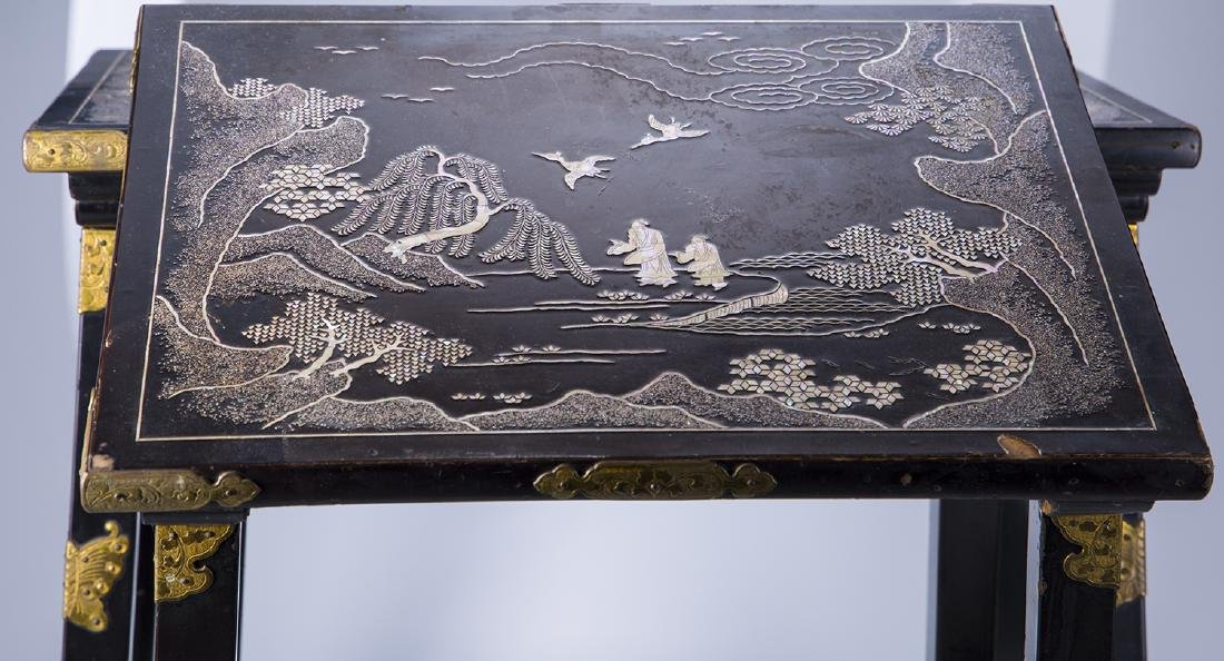 Japanese Carved Abalone and Brass Nesting Tables - 4
