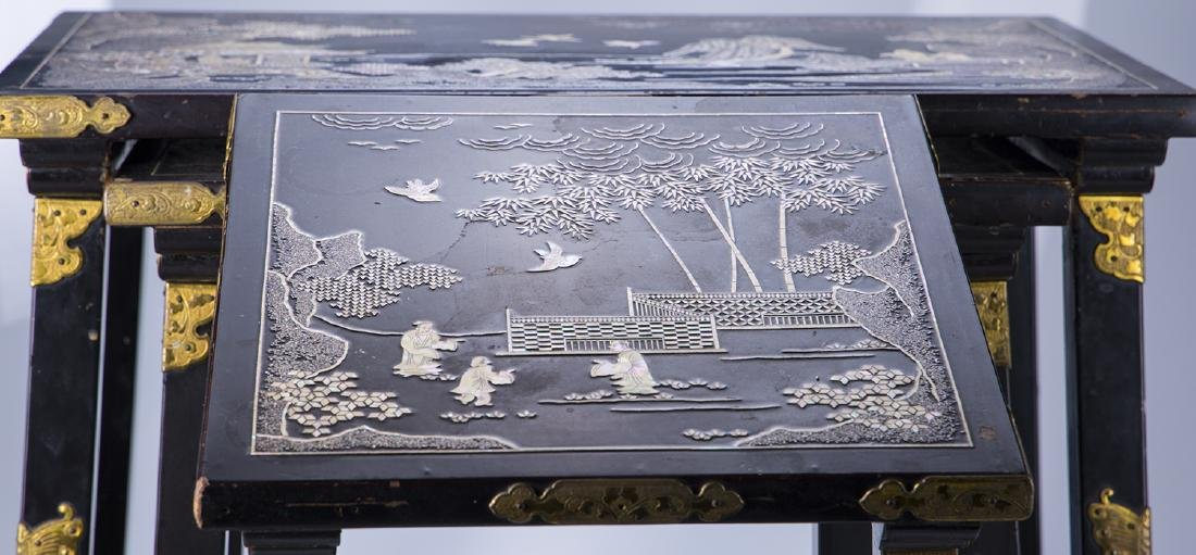 Japanese Carved Abalone and Brass Nesting Tables - 5