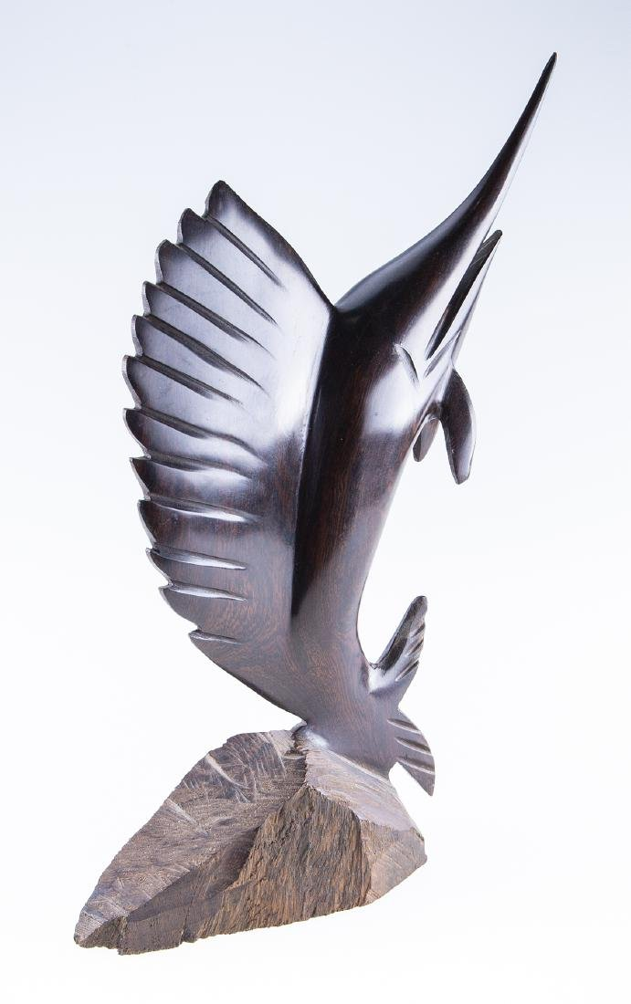 Hand Carved Marlin Statue - 3