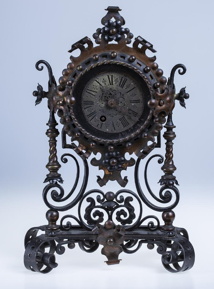 Wrought Iron and Copper Ornate Mantel Clock