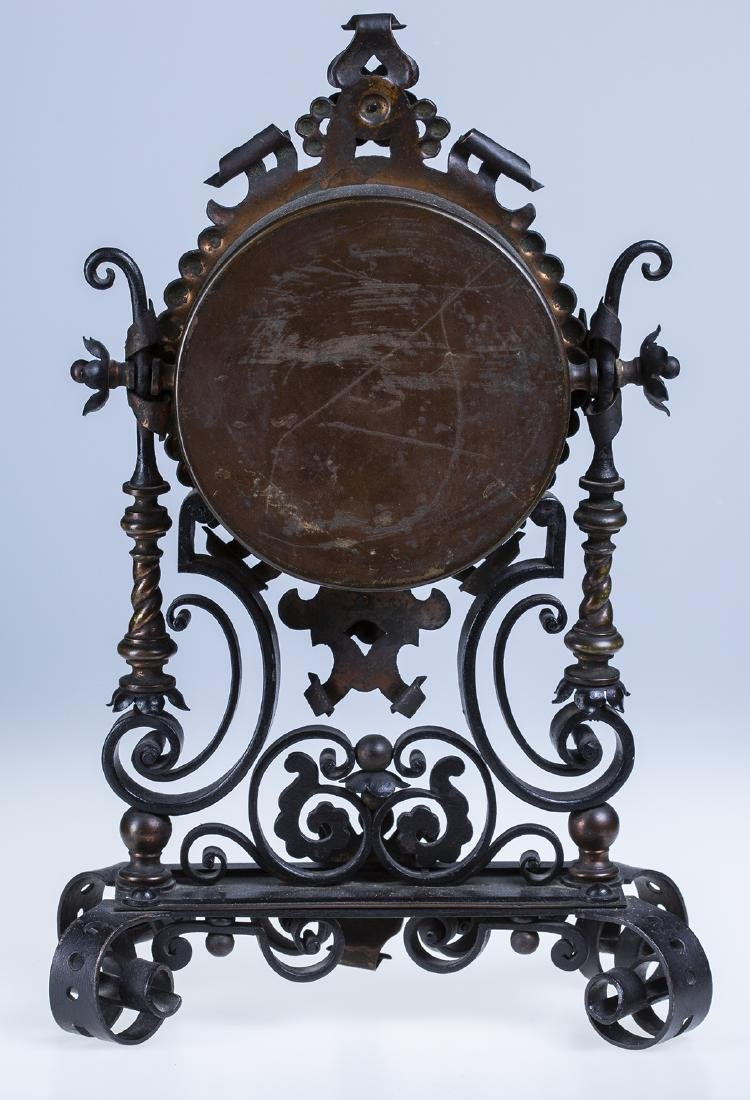Wrought Iron and Copper Ornate Mantel Clock - 2