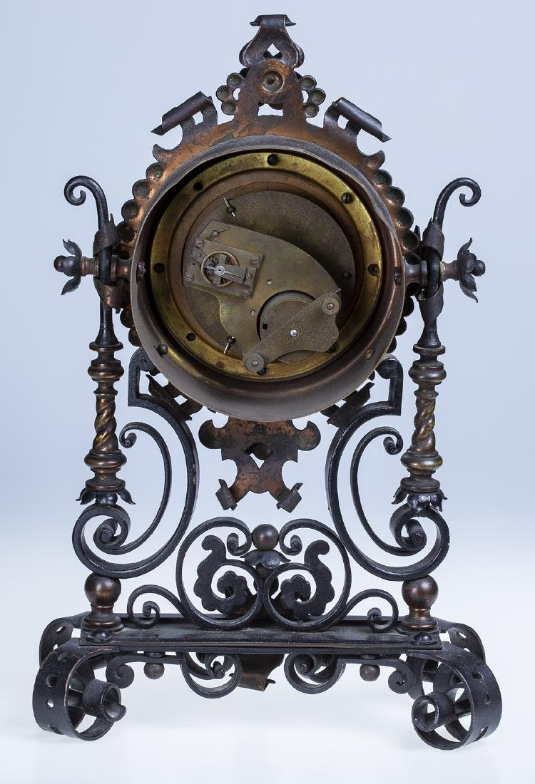 Wrought Iron and Copper Ornate Mantel Clock - 3
