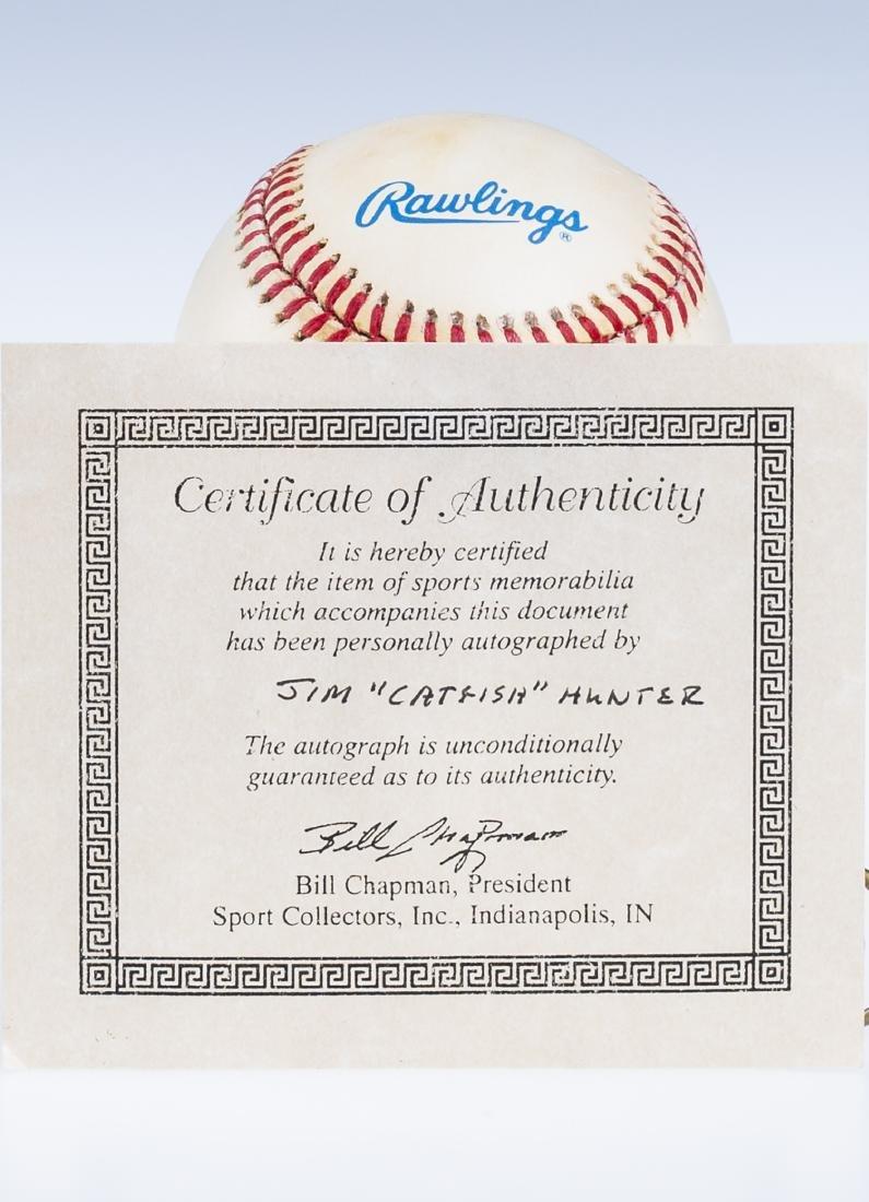 Catfish Hunter Signed Baseball - 3