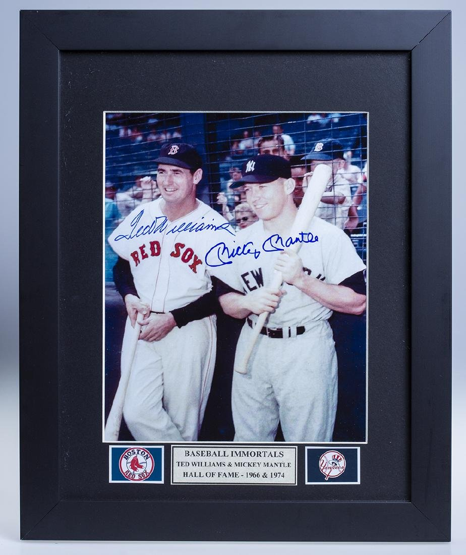 Ted Williams & Mickey Mantle Autographed Photo Framed