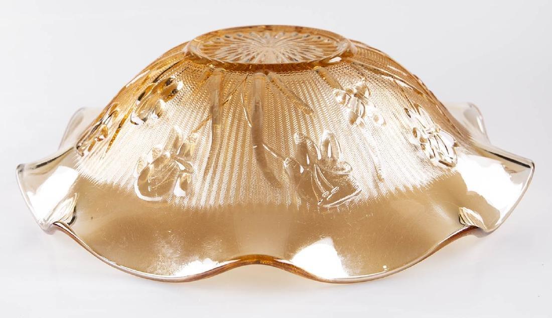 Iris Herringbone Carnival Glass in Marigold Fruit Bowl - 2