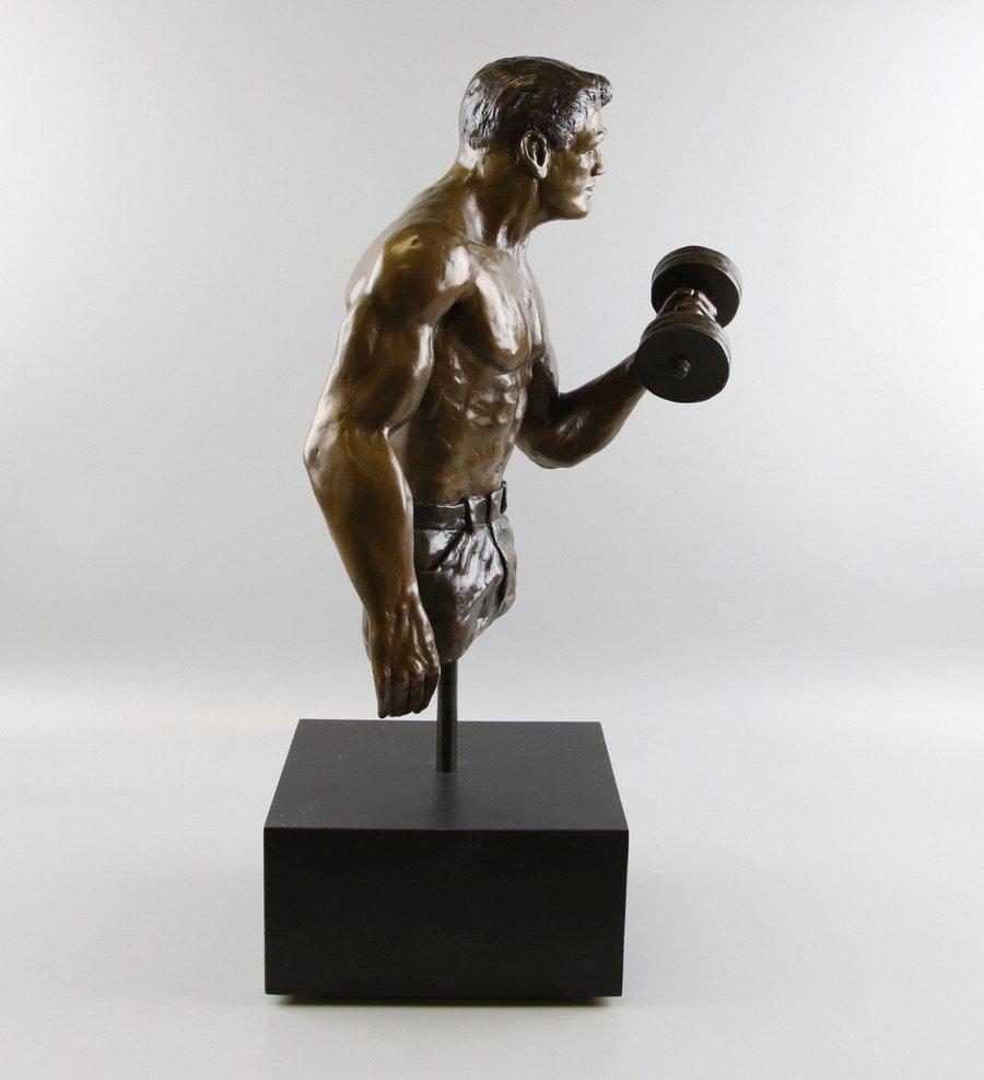 Bronze Sculpture Weightlifter - 2