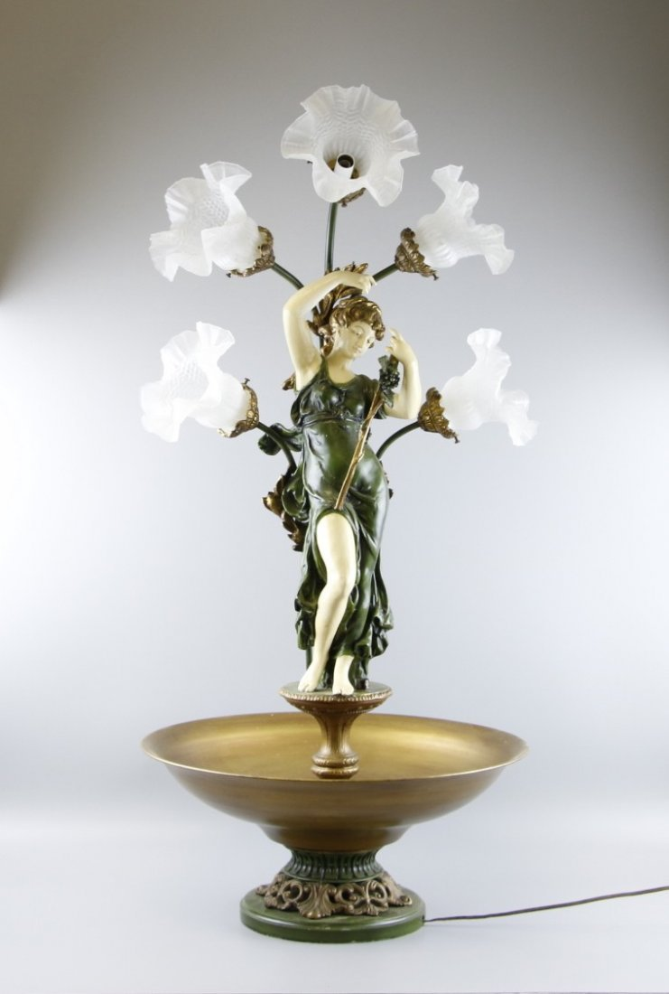Mid Century Mixed Metals Floral Statue Lamp
