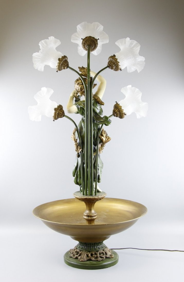 Mid Century Mixed Metals Floral Statue Lamp - 2