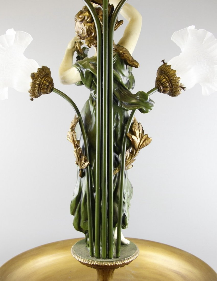 Mid Century Mixed Metals Floral Statue Lamp - 4