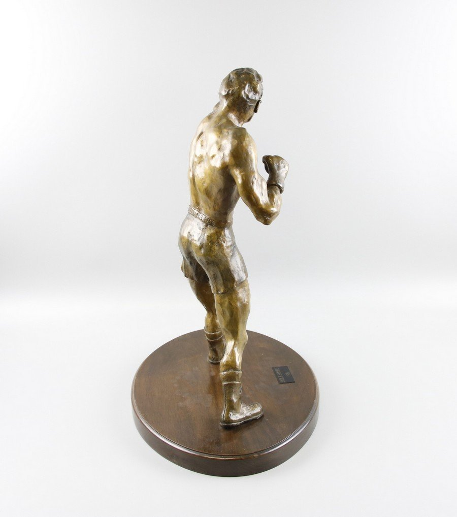 Bronze Sculpture Boxer on Stand - 2