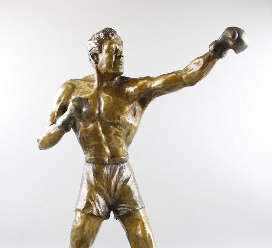 Bronze Sculpture Boxer on Stand - 5
