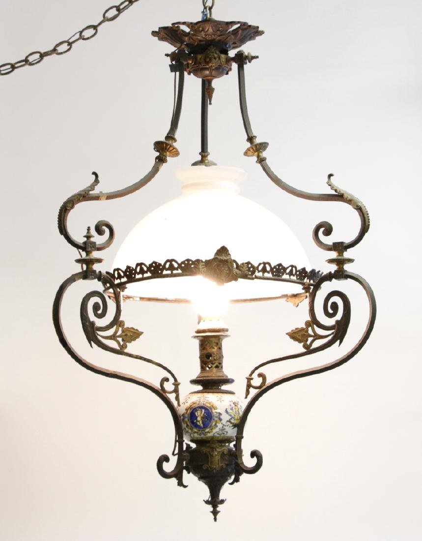 Chandelier  - French Chandelier with Faience Oil Font
