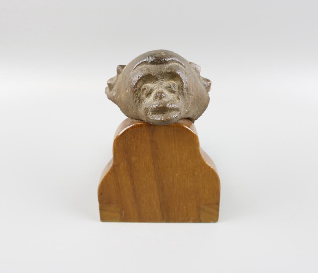 Pre Columbian Monkey Head on Stand