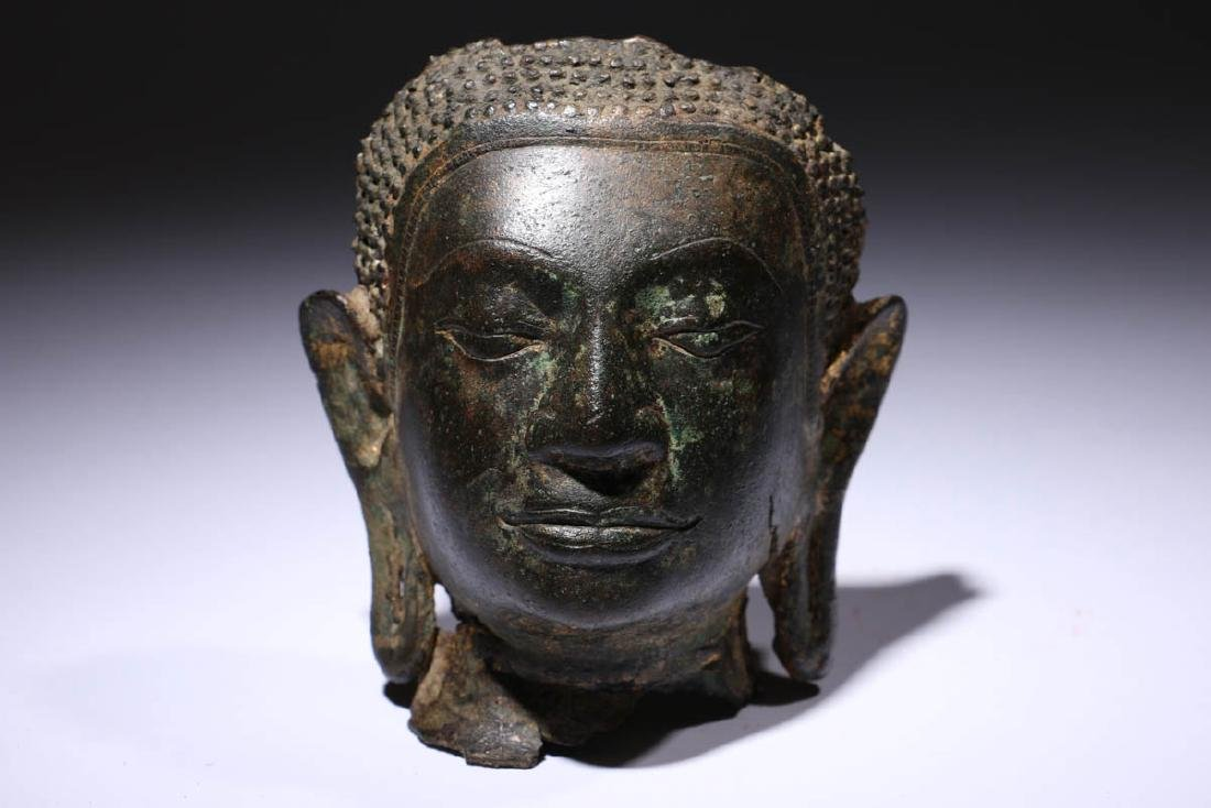 Bronze Buddha Head Fragment