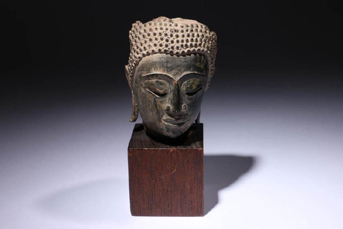 Antique Bronze Buddha Head Fragment