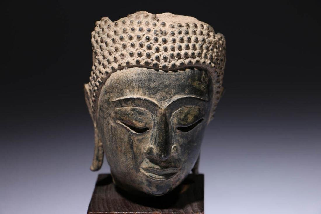 Antique Bronze Buddha Head Fragment - 2