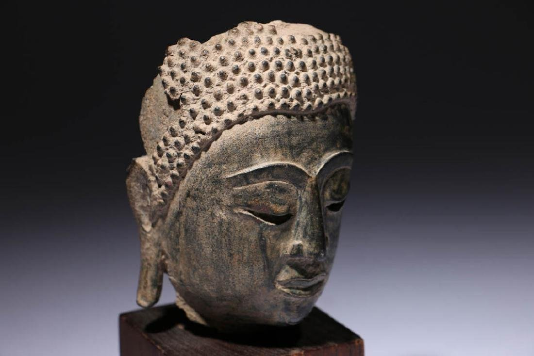Antique Bronze Buddha Head Fragment - 3