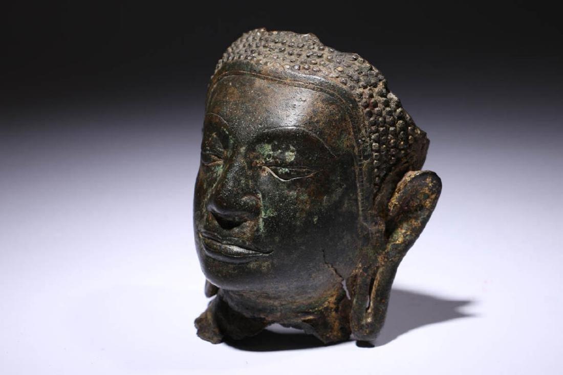 Bronze Buddha Head Fragment - 3