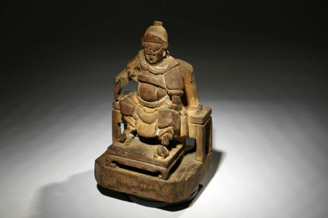 Chinese Wood Temple Figure - 2