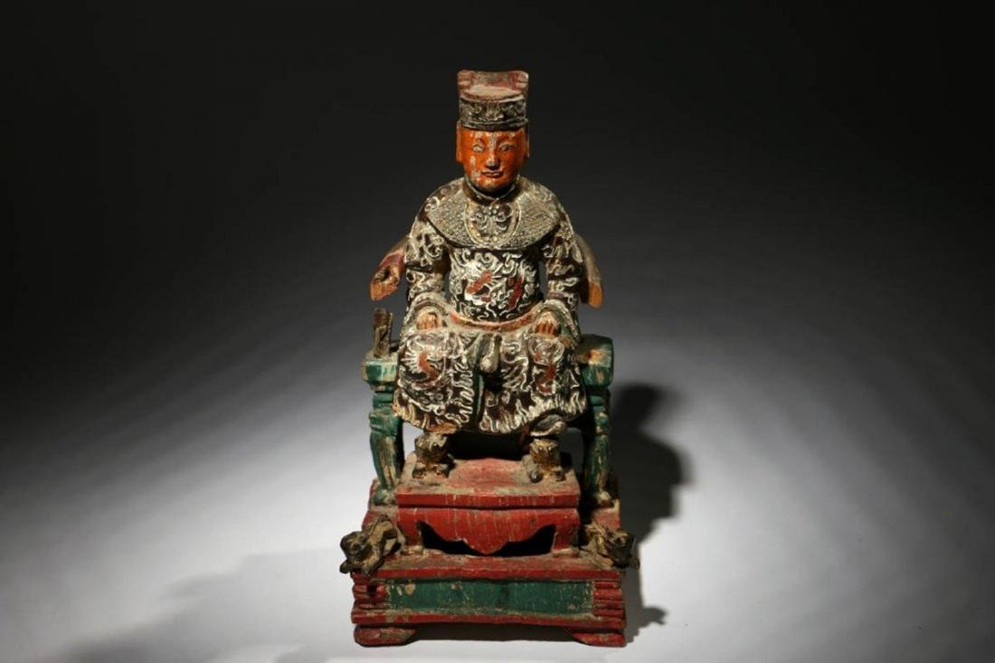 Chinese Wood Temple Figure