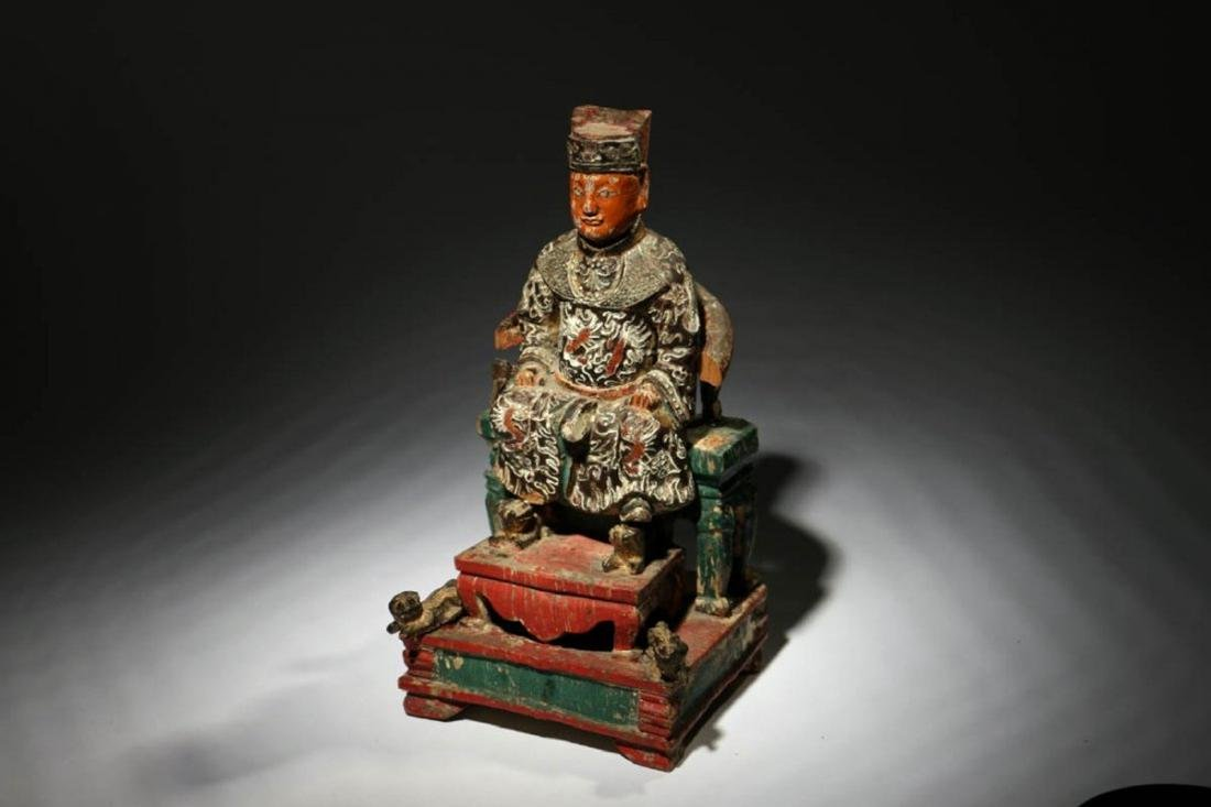 Chinese Wood Temple Figure - 3