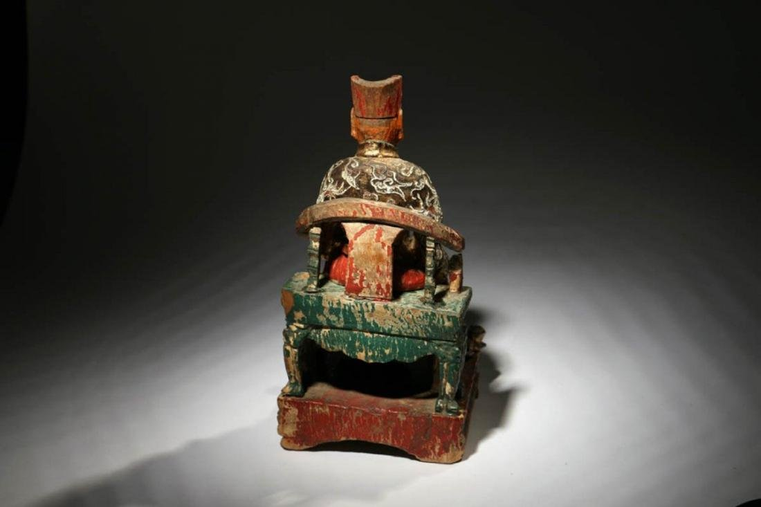Chinese Wood Temple Figure - 4