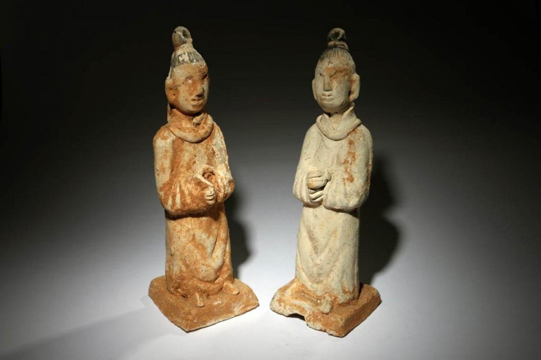 Chinese Han Dynasty Attendants Lot of two