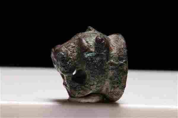 Ancient Roman Bronze Lion Head Applique