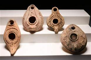 Ancient Holy Land Oil Lamps - Lot of 4
