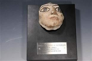 Egyptian Head Fragment Late Period ca. 750 - 300 B.C.