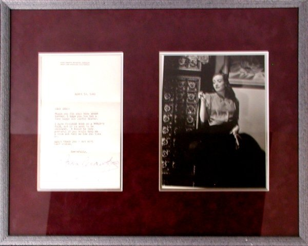 016: JOAN CRAWFORD AUTOGRAPHED LETTER SIGNATURE