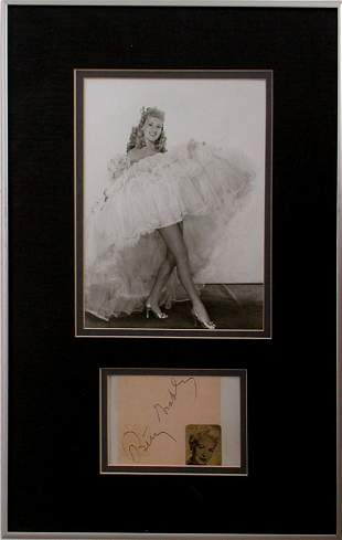019: BETTY GRABLE AUTOGRAPH BETTY GRABLE