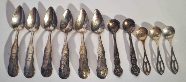 Lot of 11 Antique Sterling Silver Salt Spoons
