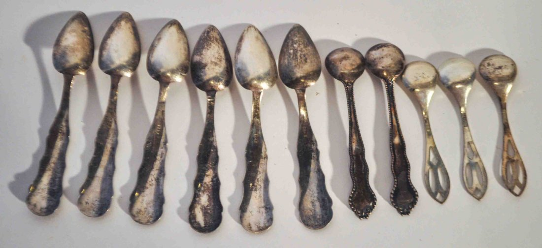 Lot of 11 Antique Sterling Silver Salt Spoons - 6