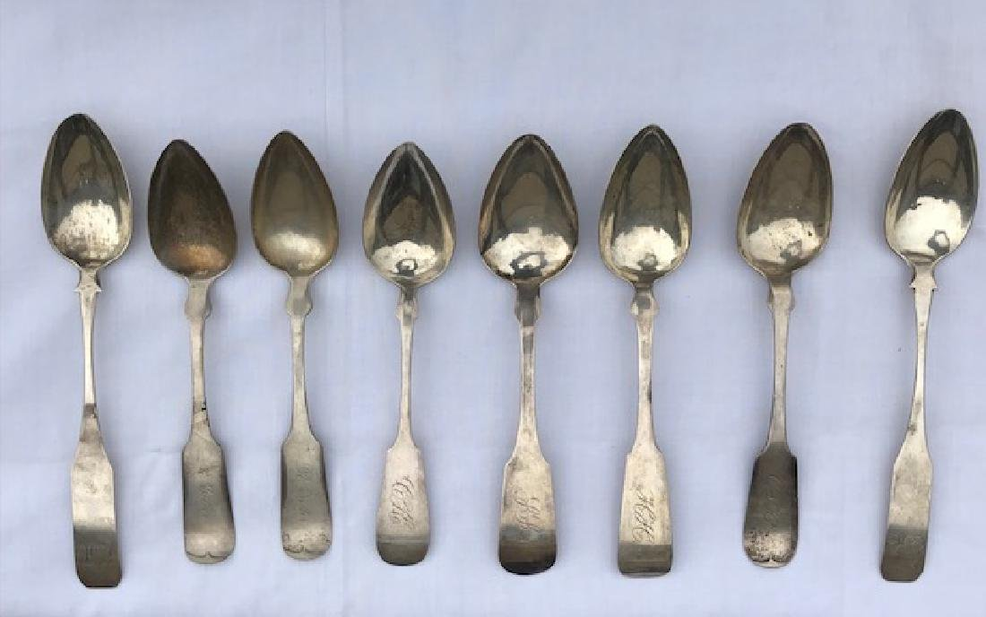 Lot 8 Antique Coin Silver Serving Spoons