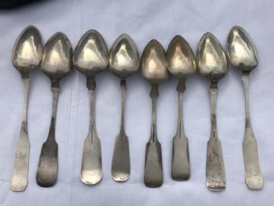 Lot 8 Antique Coin Silver Serving Spoons - 2