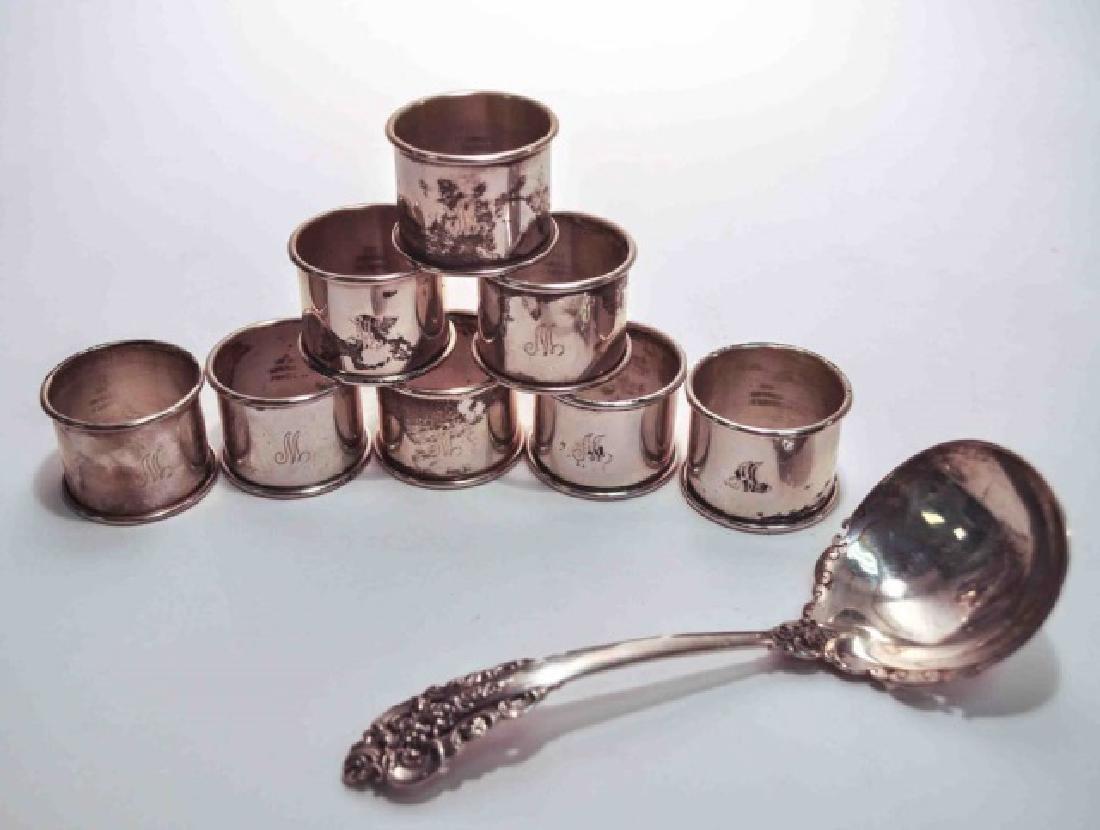 Sterling Napkin Rings & Sterling Gravy Ladle