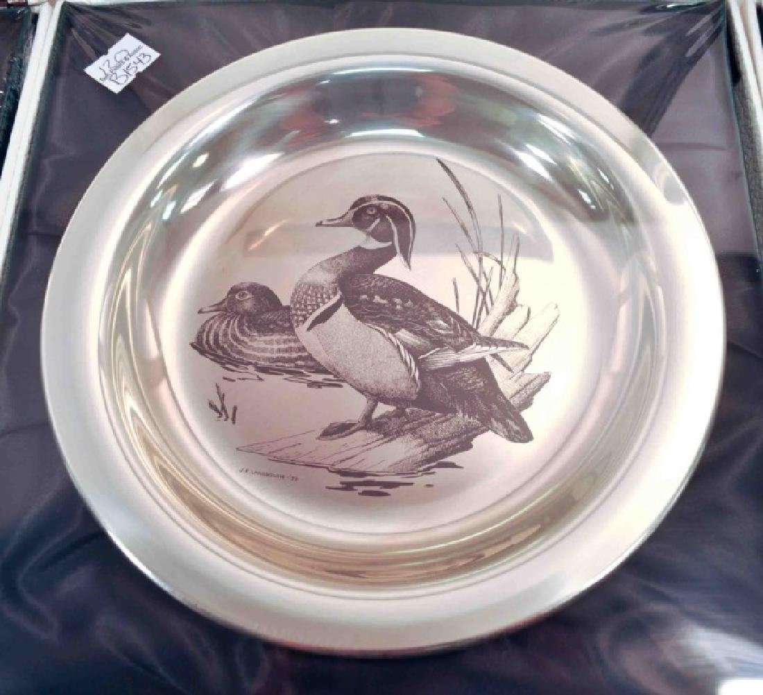 4 Sterling Silver Authentic Audubon Society Plates - 3